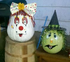 My hand painted decorated pumkins