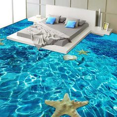 Quality Stereo Sea starfish Flooring Wallpaper Bedroom Bathroom PVC Self Adhesive Waterproof Wear Floor Tile Mural Papel De Parede with free worldwide shipping on AliExpress Mobile Floor Murals, Tile Murals, 3d Floor Art, Floor Wallpaper, Custom Wallpaper, Wallpaper Murals, Bathroom Wallpaper 3d, Wallpaper Wallpapers, Classic Home Decor