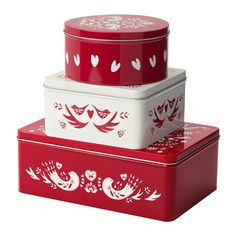 IKEA - VINTER 2016, Container with lid, set of 3, Suitable for cakes, biscuits and other dry foods.The small sizes can be stacked into the bigger sizes to save space when storing.