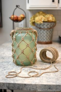 DIY Sea Glass Rope Lantern - A Wonderful Thought - DIY Sea Glass Rope Lantern. Perfect for your beach/coastal decor Rope Crafts, Beach Crafts, Summer Crafts, Diy And Crafts, Arts And Crafts, Twine Crafts, Adult Crafts, Decor Crafts, Holiday Crafts
