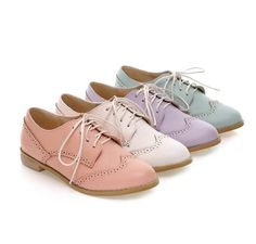 British Style Vintage Cut-out Flats Shoes   Material: PU Heels height: 2cm Color: Pink, white, purple, green Size: Euro35-39