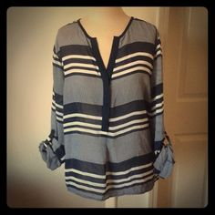 Como Black blouse 3/4 sleeves PXL 100% polyester see throghtb Como Black Tops Blouses