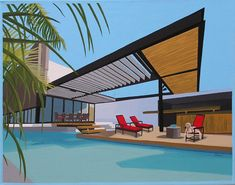 SOARING ROOF  Modern house and pool with Golden Retriever lounging. Mid century modern living.  This is a limited edition (200 prints) print by Linda Tillman. It is a print of an original gouache painting. Prints are all printed on archival matte paper. They are printed with a Canon iX6500 printer. It has a border. The edges of the composition fade softly into white as they do on the original painting. The print will fit a standard pre-cut matte for easy framing.  The size is 14 x 11 inches…
