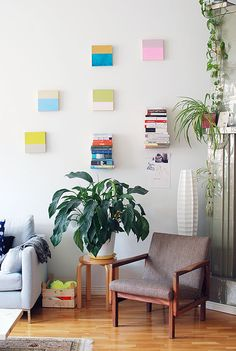A reading corner in the cheerful home / of Finnish visual artist Saija Starr.