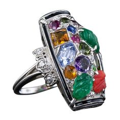 Art Deco Carved Emerald, Sapphire, Ruby, Amethyst, Citrine, Black Enamel And Diamond Ring Mounted In Platinum    c.1920's-1930's