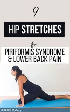 9 hip stretches to alleviate back pain and piriformis syndrome bull Coach Sofia Fitness 9 hip stretches to alleviate lower back pain and piriformis syndrome. These stretches target the tight hip muscles and help you get relief instantly Scoliosis Exercises, Hip Stretches, Back Exercises, Yoga Exercises, Piriformis Exercises, Sciatica Stretches, Stability Exercises, Cardio Workouts, Sore Lower Back