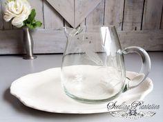 Vintage Etched Glass Pitcher-Glass Serving by seedlingplantation