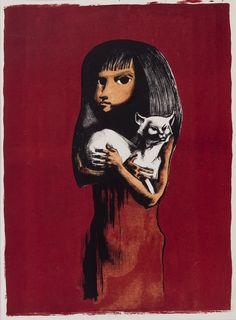 Michael Ayrton (1921-1975) - Girl and Cat - Lithograph