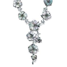A luxurious cascade of black mother-of-pearl flowers tumbles down this stunning necklace designed to be a glamorous statement maker. Dramatic length detailed in Silver tone. Mother Of Pearl Necklace, White Necklace, Mother Pearl, Necklace Types, Gemstone Necklace, Flower Necklace, Jade Jewelry, Pearl Jewelry, Jewelry Necklaces
