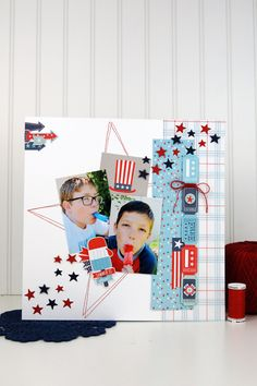 """4th of July layout by @wendysue for #EchoParkPaper with their """"Sweet Liberty"""" collection and designer dies!  Get Echo Park at www.craftysteals.com"""