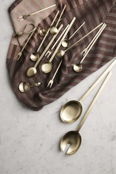 Colourful news from Ferm Living AW17 minimal gold cutlery for a stylish dinner party