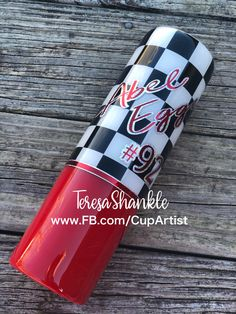Show your love watching the race! Perfect for any race lover or enthusiast! Pick your colors and personalization! Glitter or non glitter versions available. Message for more info or to place orders. Like and follow me on FB at www.FB.com/CupArtist #mom #baby #momlife #sports #cars #racing #motorcycle #diy #handmade #handcrafted #glitter #family #friends #gifts #giftideas #kids #birthday #christmas #valentines #craft #cute #style #favorite #color #white #black #ideas #dad #design #color… Personalized Tumblers, Custom Tumblers, Voss Bottle, Water Bottle, Mom Baby, Design Color, Facebook Sign Up, Are You The One, Favorite Color