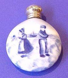 "Edwardian Antique Silver & Porcelain Scent Bottle - Made in Birmingham, 1905.  Length 2.2"" (5.5cm). Price £225.00"