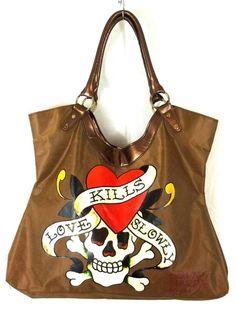 "Ed Hardy ""Love Kills Slowly""  Tote Brown Skull, Crossbones & Heart Purse Handbag #EdHardy #TotesShoppers"