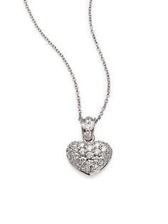 Roberto Coin - Tiny Treasures Diamond & 18K White Gold Puffed Heart Pendant Necklace