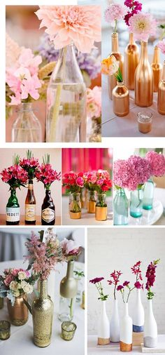 8. Se sobrou umas garrafas da última festa, elas ficarão lindas com uma flor e, quem sabe, um pouco de tinta