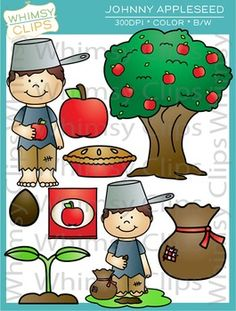 The Johnny Appleseed clip art set contains 18 image files, which includes 9 color images and 9 black & white images in png and jpg. All images are 300dpi for better scaling and printing.