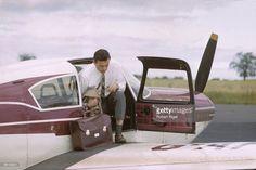 Jim Clark lands at his farm in Duns, Scotland in his Piper Comache plane in 1965.
