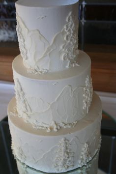 mountain wedding cake, reminds me of my wedding invitations