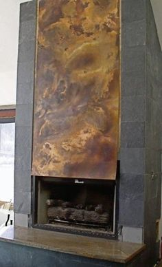 Copper Fireplace Vent Cover-- with tile?
