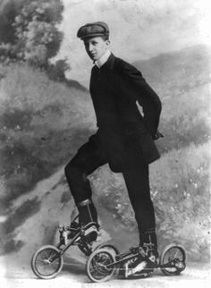 A young man wearingEdvard Petrini's pedaled roller skates, Sweden, 8 November 1910. Source: George Grantham Bain Collection, Library of Congress