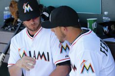 Pitcher and Catcher bonding in the dugout | #Marlins Spring Training