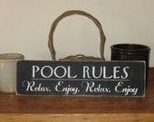 Custom Personalized Family Name Pool Rules -Wood Sign- Outdoor Decor. $42.00, via Etsy.