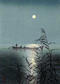 Moonlit Sea, Hasegawa Night, by Shoda Koho, woodblock print, ca. 1910-20
