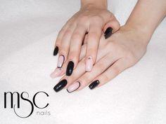 Squaletto blak and pink #gel #gelnails #msc #mscnails #nails #gelbuilder #nailart #nailstuds #naildesign #nailtechnician