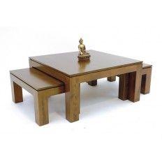 Table Basse 3 Parties Meuble Deco En Bois Massif Table Basse Table Basse Bois Table De Salon
