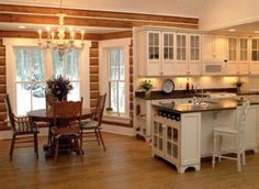 Kitchen & Dining in log chinked home