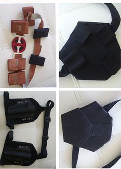 The set includes: - brown patron cases - black patron cases - belt with clasp made of leather - holsters with black belt - katana holder with diagonal belt - knife holder for the left leg Turnaround t