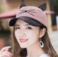 cb67ee1ef23 Cat sequins baseball cap with earts for teenage girls UV protection sun hat