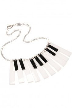 Keyboard Necklace Hit all the right notes with this cool Keyboard Necklace. Seventeen separate keys make for a piano necklace full of movement and super fun to wear. If you love music or monochrome, this is a key look. Music Jewelry, Jewelry Art, Unique Jewelry, Jewelry Accessories, Handmade Jewelry, Jewelry Necklaces, Jewellery, Jewelry Ideas, Key Necklace