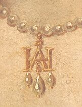 Gold entwined H & A pendant, with three drop pearls. Detail from the portrait of Anne Boleyn at Loseley House.