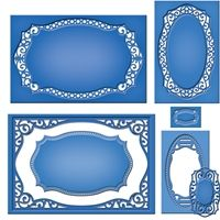 """S5-189 Majestic Labels Twenty-Five - This set of 6 die templates complements our Labels 25 set. It will perfectly frame and enhance the shape with its intricate cuts, piercings and embossing. Use nested with its Border die as a die cut or use the Inset die alone as an embedded pattern for your projects.   Approximate Die Templates Sizes:  1: 1⅛ x ¾"""" (Inset) 2: 3⅜ x 1¾"""" (Inset) 3: 4¼ x 2⅝"""" (Inset) 4: 4¾ x 3"""" (Border) 5: 5⅞ x 3⅝"""" (Inset) 6: 6¼ x 4¼"""" (Border)"""