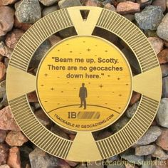 NEW-Beam-Me-Up-No-Geocaches-Here-2-5-GeoMedal-Geocoin-Ant-Gold-Colour