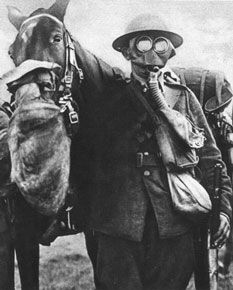 A soldier wearing a gas mask.
