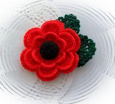 Crochet Brooch Red Poppy Flower Corsage Brooch by CraftsbySigita Crochet Poppy, Crochet Cactus, Knitted Flowers, Crochet Flower Patterns, Yarn Crafts, Sewing Crafts, Remembrance Day Poppy, Yarn Organization, Crochet Brooch