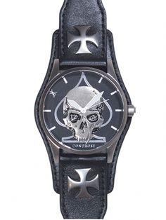 """Skull and Spade"" Watch by Controse (Black) #InkedShop #mens #skull #watch #accessories"