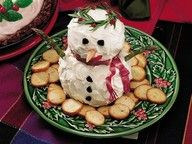 """Betty Crocker: Snow Man CheeseBall recipe. 3 packages (8 ounces each) cream cheese, softened 4 cups shredded Cheddar cheese (16 ounces) 2 tablespoons basil pesto 1 tablespoon grated onion 1/4 teaspoon yellow mustard 2 drops red pepper sauce 1 container (4 ounces) whipped cream cheese, softened Decorations (see Success Hint), if desired Assorted crackers, if desired"""" data-componentType=""""MODAL_PIN"""