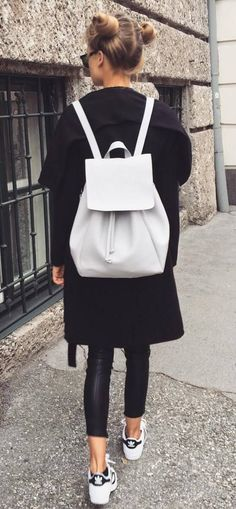 6059471e45bc black and white outfit idea White Outfit Casual