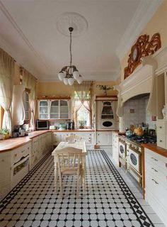 Art Nouveau Kitchen Interior Ideas floor tiles and retro style smeg oven/cooker