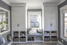 White and Gray Mud Room // White Built In Shelving for Laundry Room