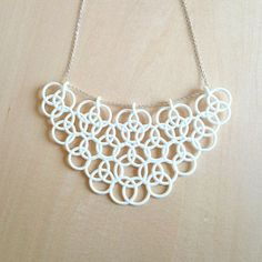 3D printed white bib necklace lovely like lace