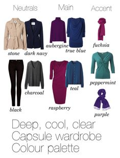 """Deep, cool and clear capsule colour palette"" by lillyicity ❤ liked on Polyvore featuring MANGO, L.K.Bennett, Phase Eight, Uniqlo, Lanvin and Vero Moda"