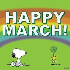 Happy March- Snoopy and Woodstock in a Field With Rainbow Overhead Snoopy Love, Snoopy Et Woodstock, Happy March, Hello March, Peanuts Cartoon, Peanuts Snoopy, Bonjour Mars, Neuer Monat, March Quotes