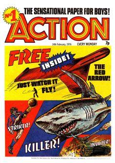 Cover for Action (Série IPC, # 14 février 1976 - Surprise Saint-Valentin Comics Uk, Comics For Sale, Old Comics, Vintage Comics, Comic Book Artists, Comic Artist, Comic Books, 2000ad, Silver Age
