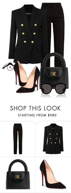 """Black Out"" by spivey-adrian ❤ liked on Polyvore featuring Gucci, Balmain, Chanel, Christian Louboutin and Givenchy"
