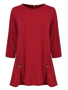 Sale 29% (24.29$) - Casual Women 3/4 Sleeve O-Neck Irregular Hem Buttons Cotton T-shirts